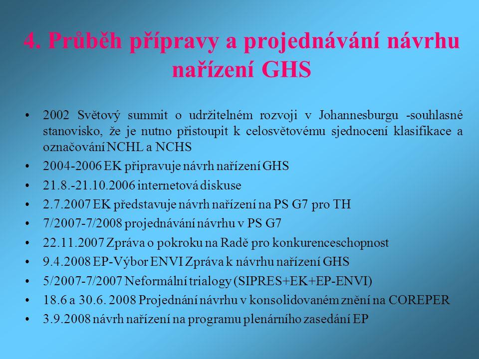 4. Průběh přípravy a projednávání návrhu nařízení GHS
