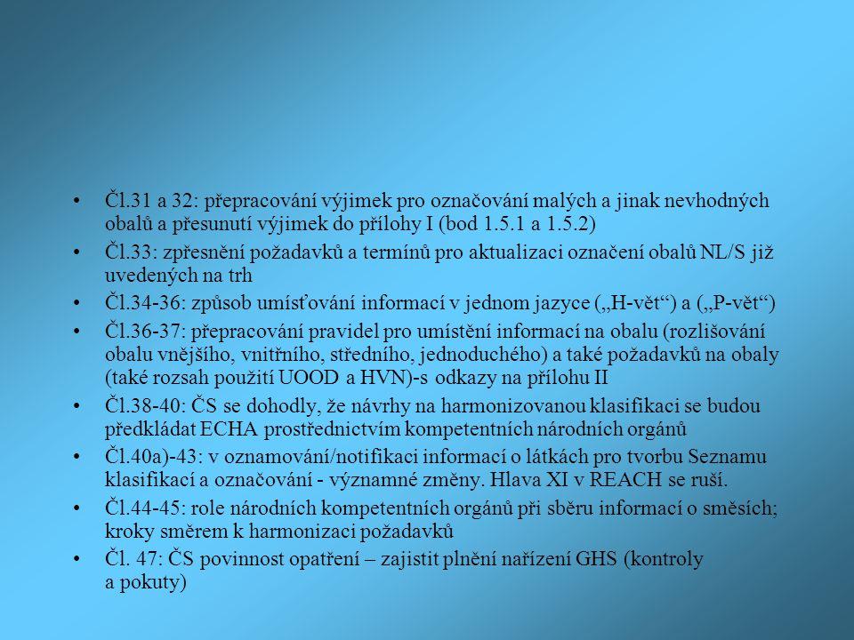 Čl.31 a 32: přepracování výjimek pro označování malých a jinak nevhodných obalů a přesunutí výjimek do přílohy I (bod 1.5.1 a 1.5.2)