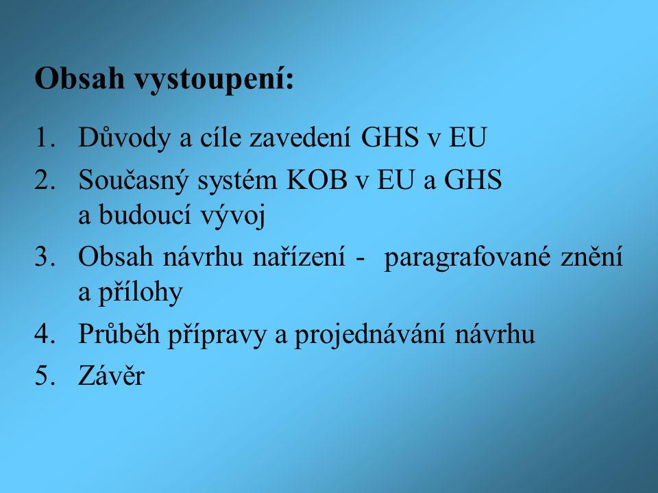 Obsah vystoupení: 1. Důvody a cíle zavedení GHS v EU