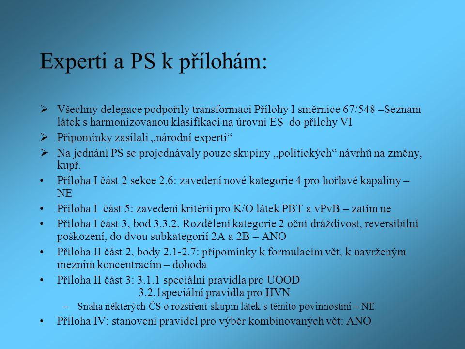 Experti a PS k přílohám: