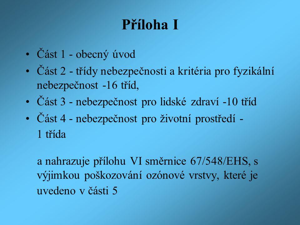 Příloha I Část 1 - obecný úvod
