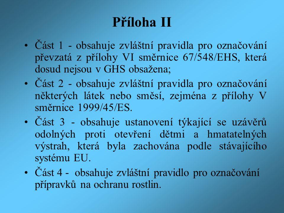 Příloha II Část 1 - obsahuje zvláštní pravidla pro označování převzatá z přílohy VI směrnice 67/548/EHS, která dosud nejsou v GHS obsažena;