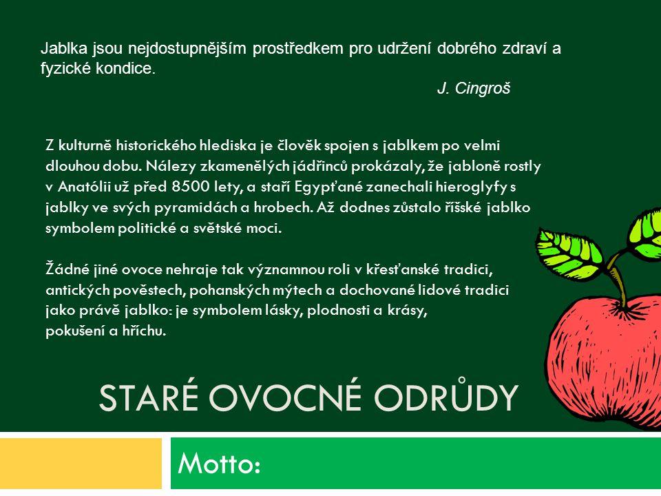 Staré ovocné odrůdy Motto: