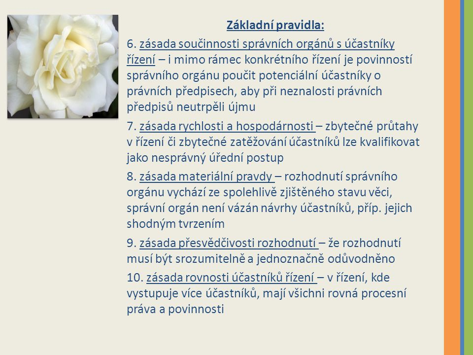 Základní pravidla: