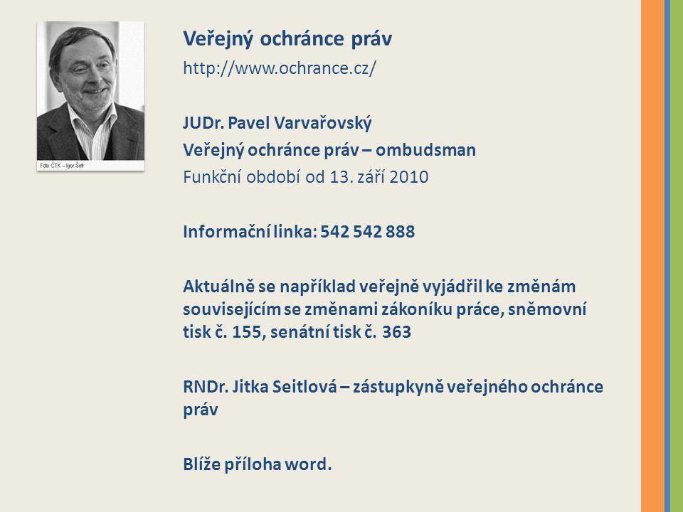 Veřejný ochránce práv http://www.ochrance.cz/ JUDr. Pavel Varvařovský