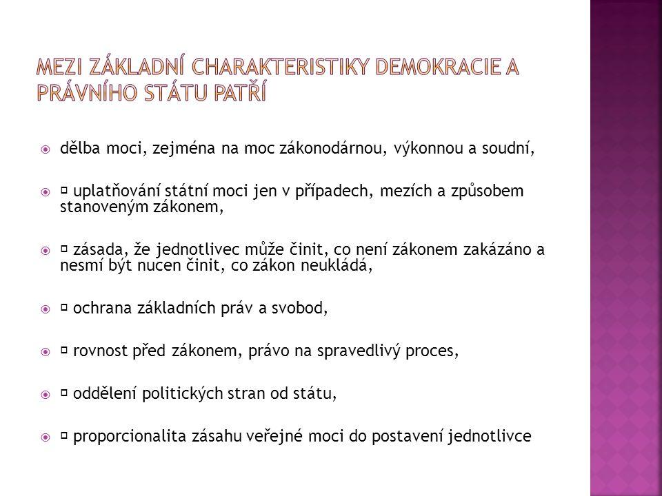 Mezi základní charakteristiky demokracie a právního státu patří