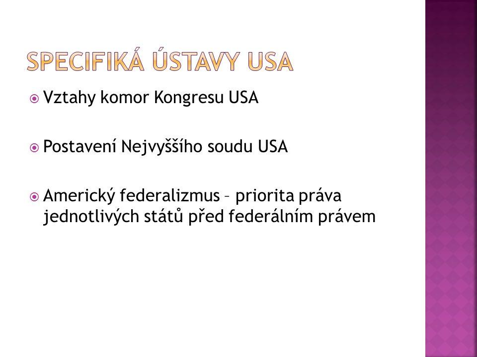 Specifiká Ústavy USA Vztahy komor Kongresu USA