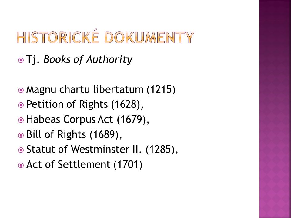 Historické dokumenty Tj. Books of Authority