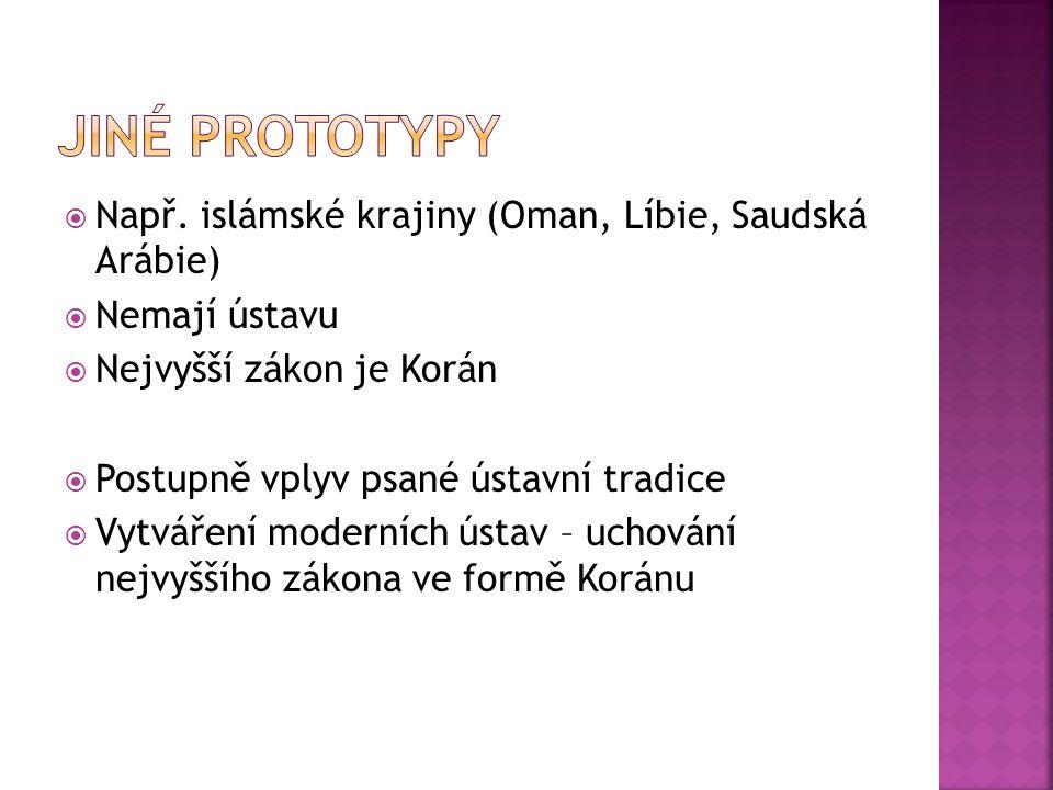Jiné prototypy Např. islámské krajiny (Oman, Líbie, Saudská Arábie)