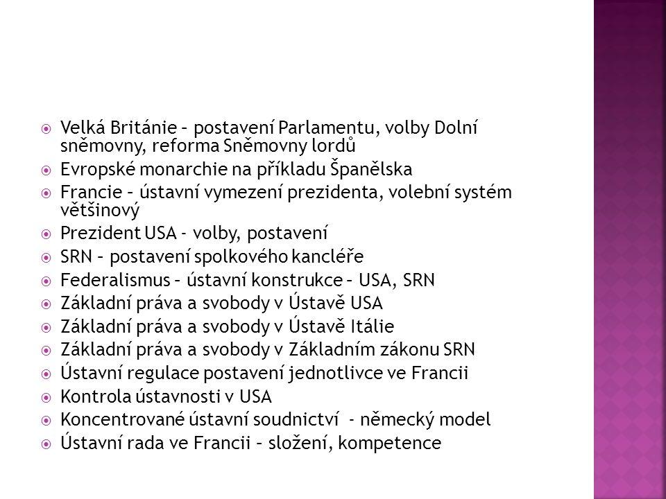 Velká Británie – postavení Parlamentu, volby Dolní sněmovny, reforma Sněmovny lordů
