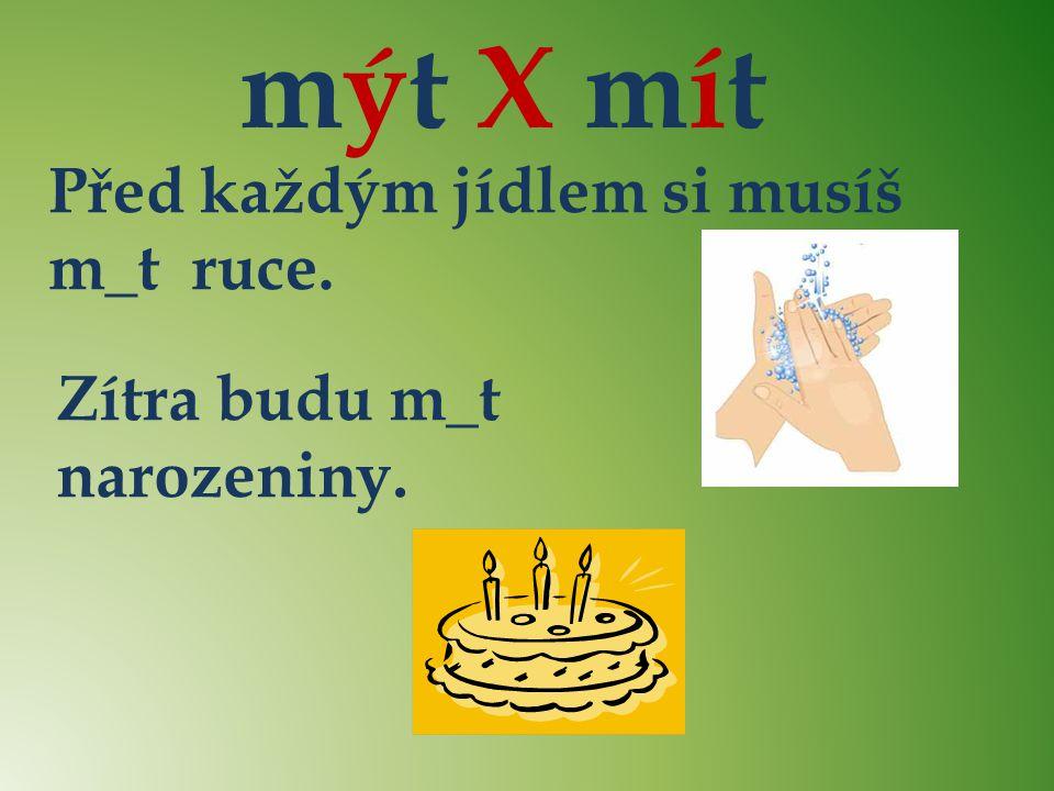 mýt X mít ý Před každým jídlem si musíš m_t ruce. í
