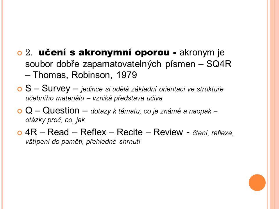 2. učení s akronymní oporou - akronym je soubor dobře zapamatovatelných písmen – SQ4R – Thomas, Robinson, 1979