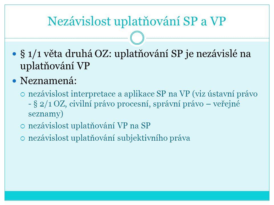 Nezávislost uplatňování SP a VP