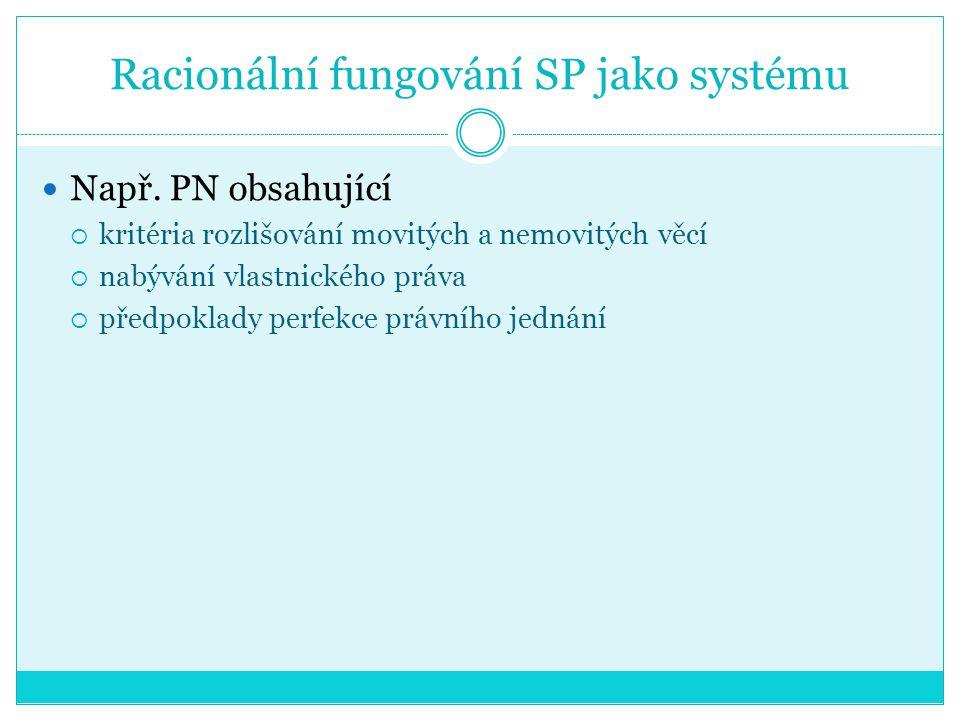 Racionální fungování SP jako systému