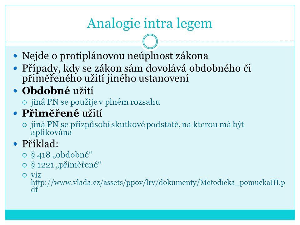 Analogie intra legem Nejde o protiplánovou neúplnost zákona