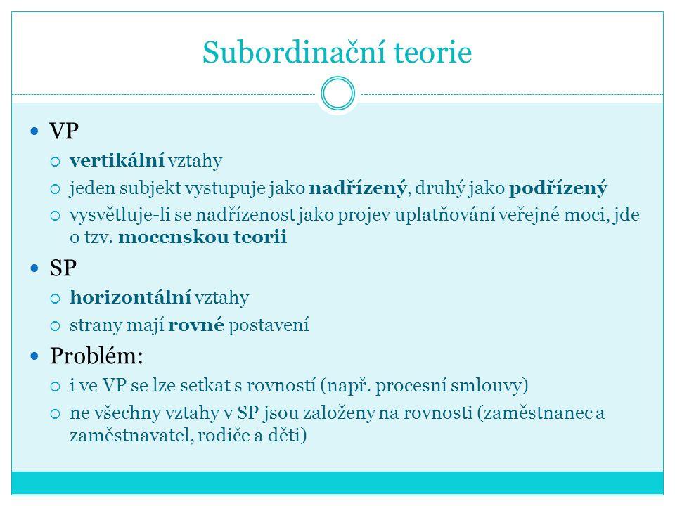 Subordinační teorie VP SP Problém: vertikální vztahy