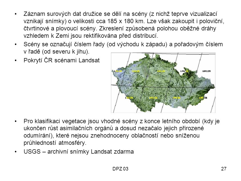 Pokrytí ČR scénami Landsat