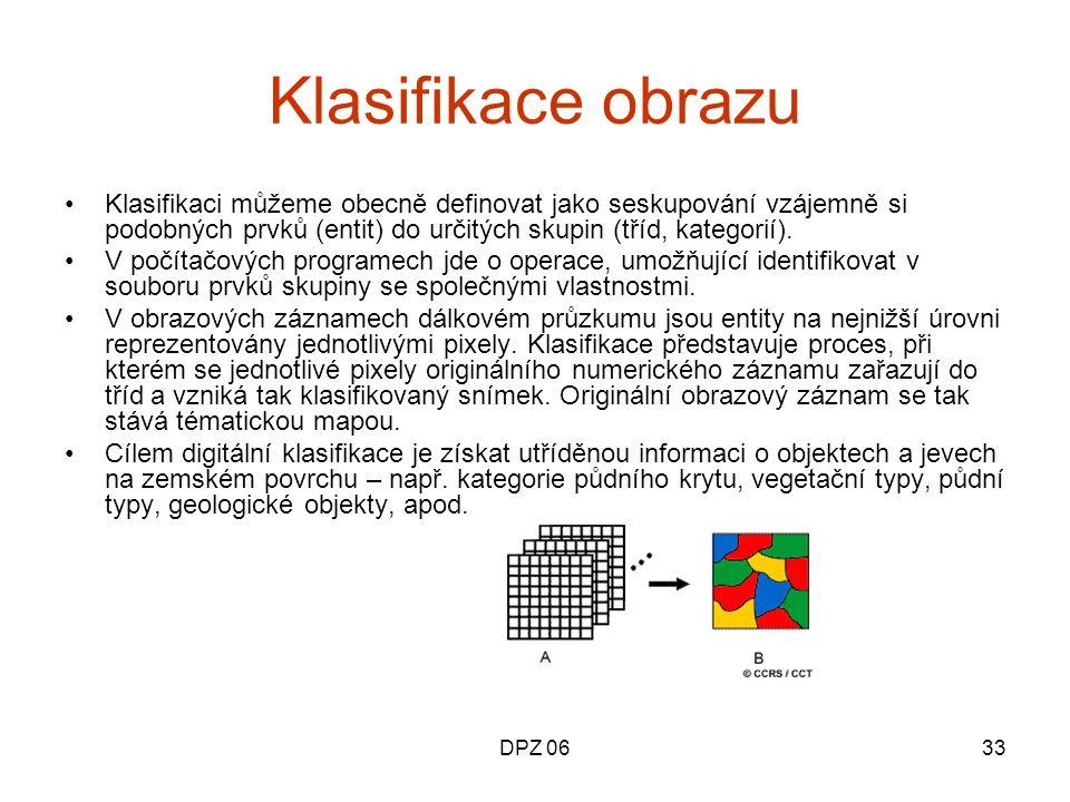 Klasifikace obrazu Klasifikaci můžeme obecně definovat jako seskupování vzájemně si podobných prvků (entit) do určitých skupin (tříd, kategorií).