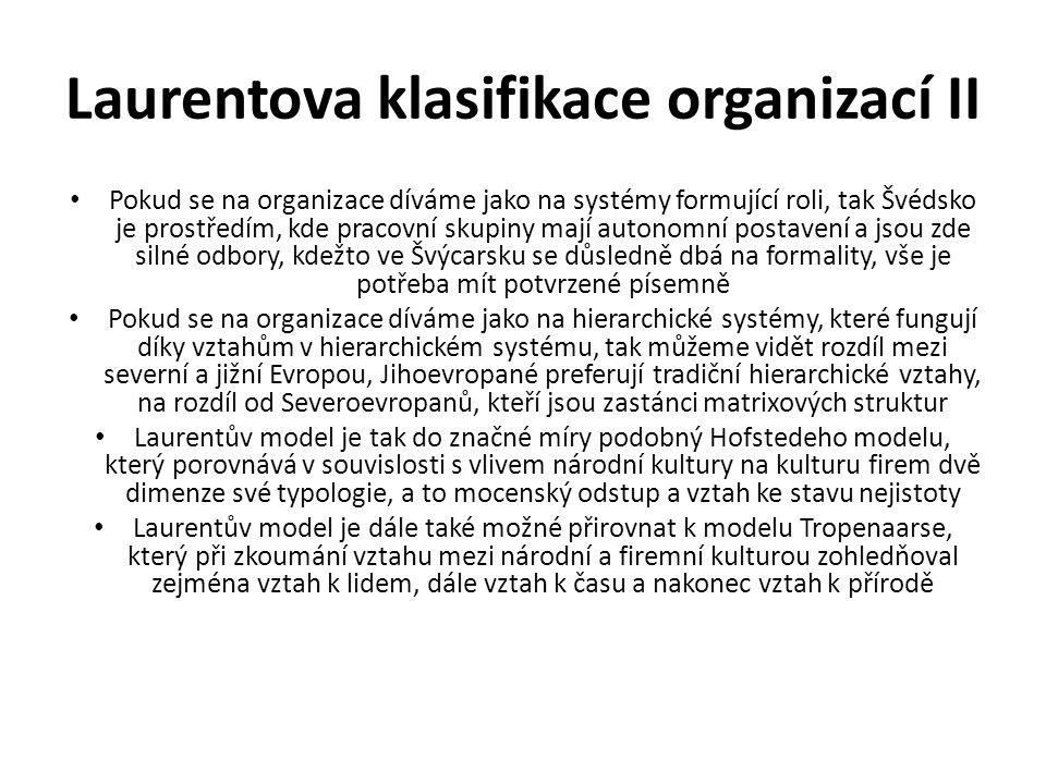 Laurentova klasifikace organizací II