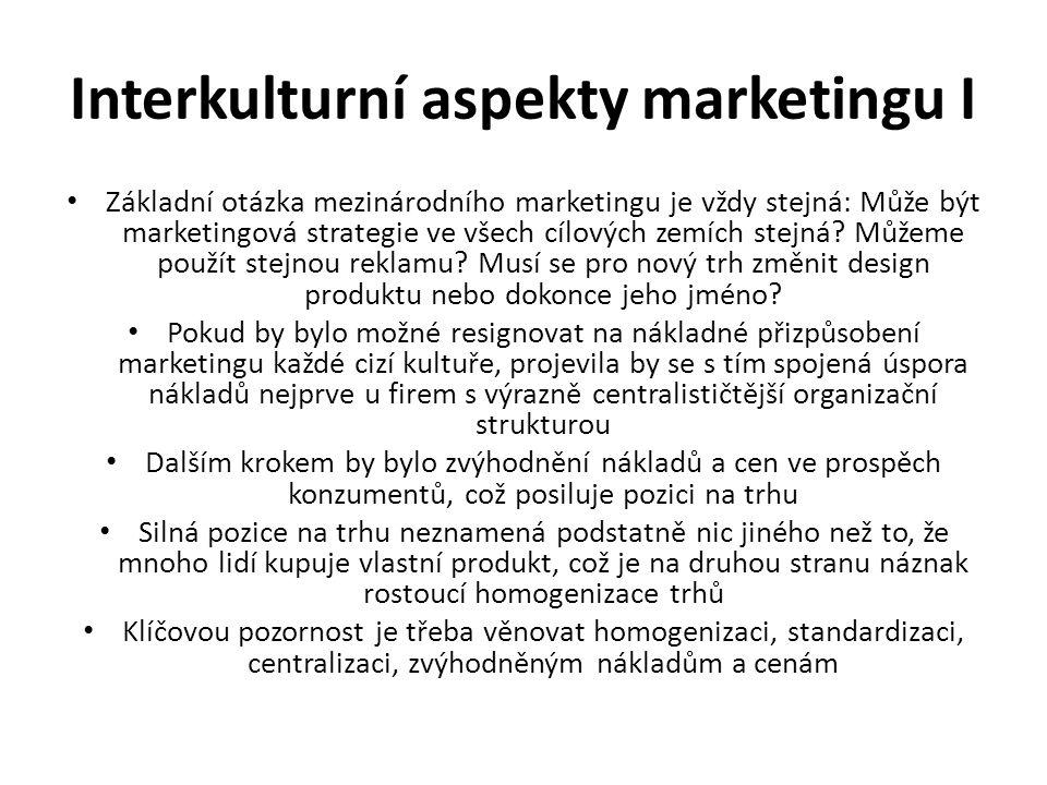 Interkulturní aspekty marketingu I