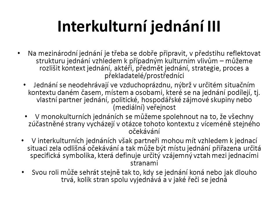 Interkulturní jednání III