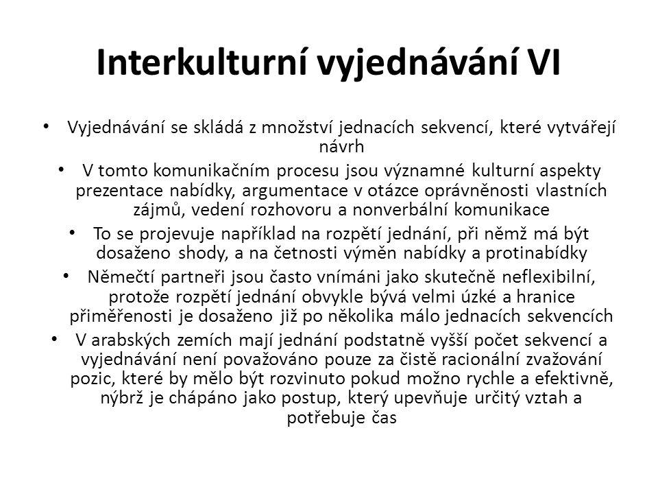 Interkulturní vyjednávání VI