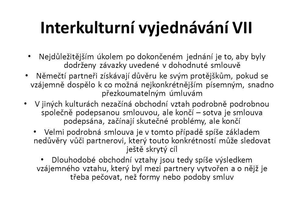 Interkulturní vyjednávání VII