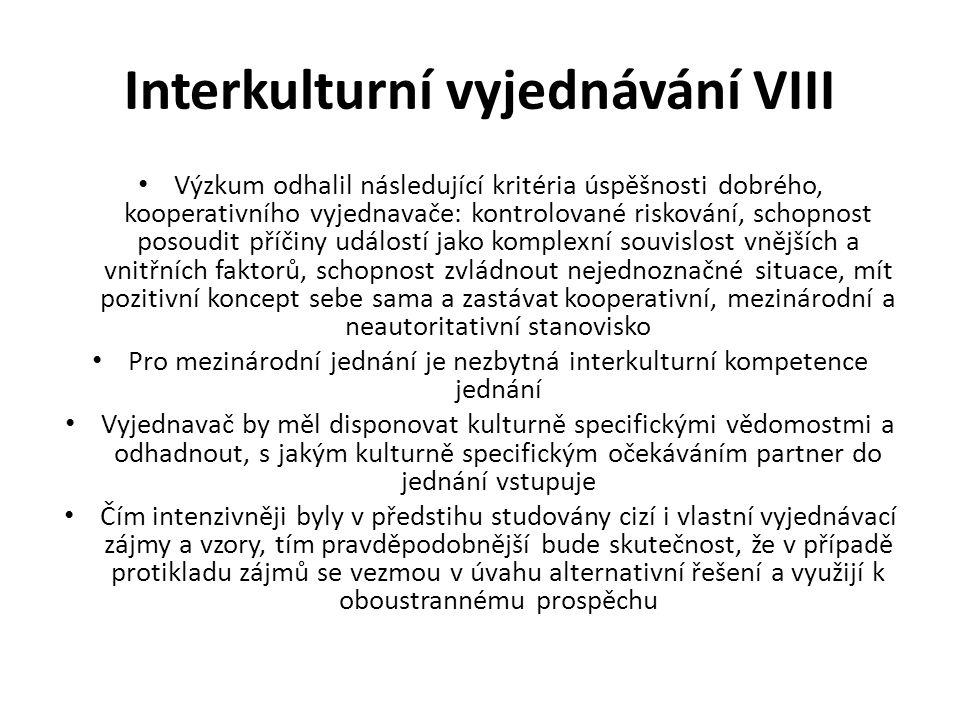 Interkulturní vyjednávání VIII