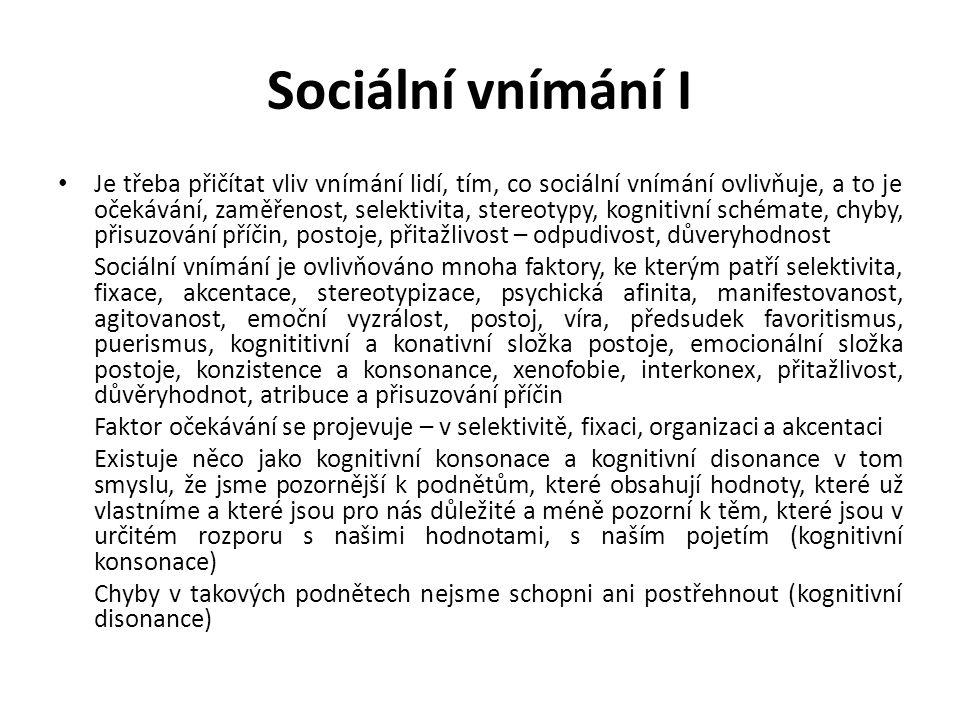 Sociální vnímání I