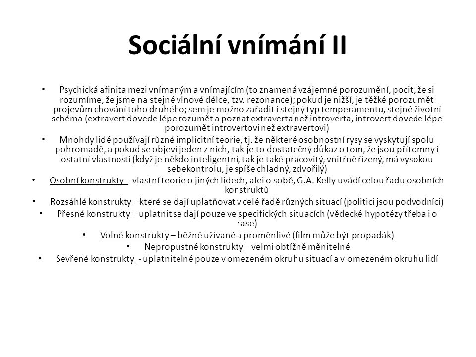 Sociální vnímání II