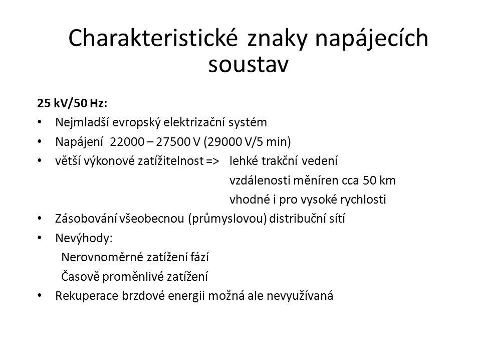Charakteristické znaky napájecích soustav
