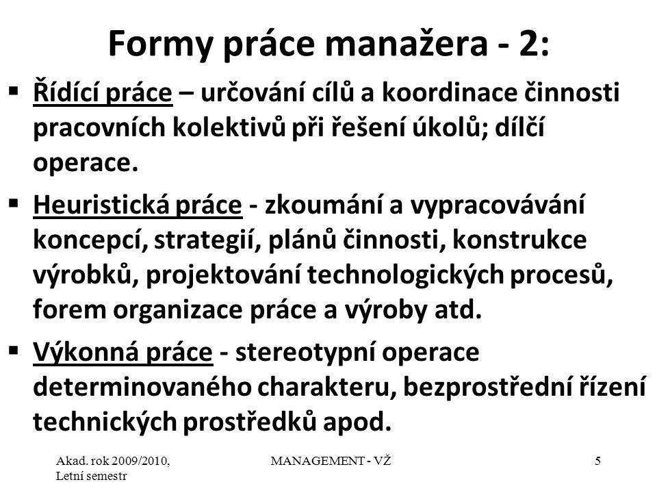 Formy práce manažera - 2: