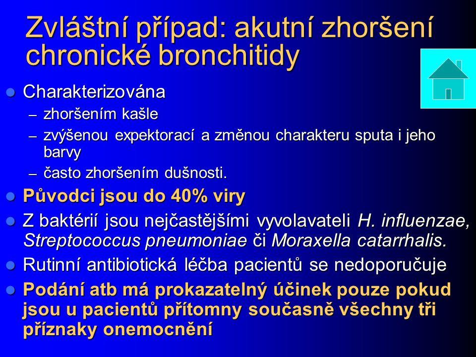 Zvláštní případ: akutní zhoršení chronické bronchitidy