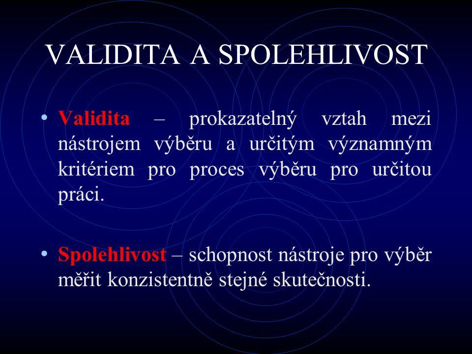 VALIDITA A SPOLEHLIVOST