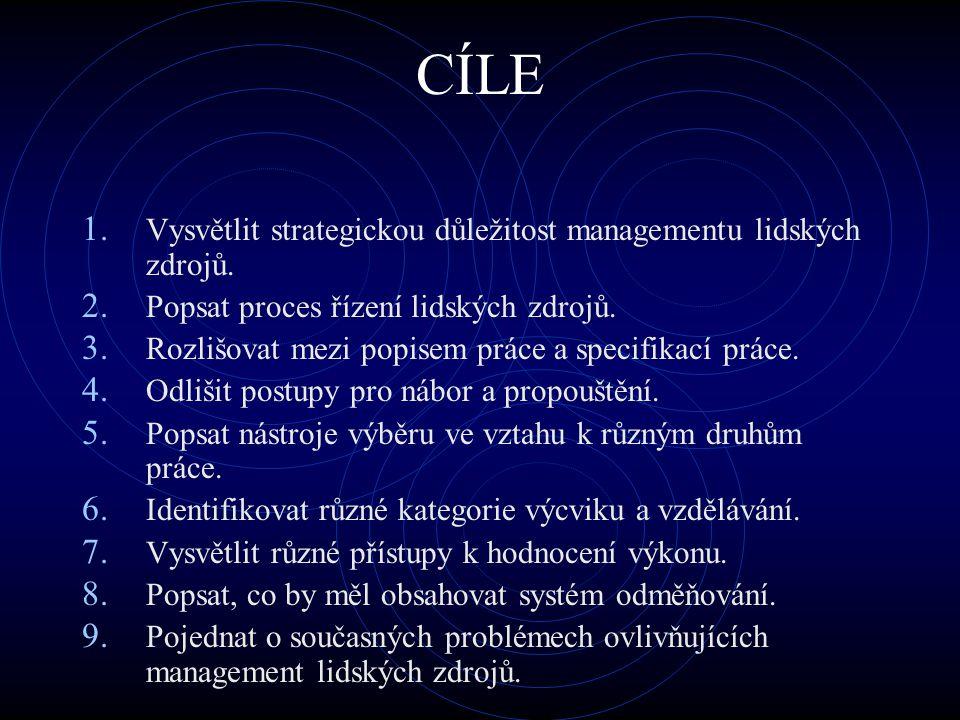 CÍLE Vysvětlit strategickou důležitost managementu lidských zdrojů.