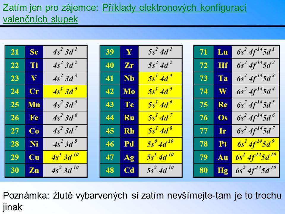 Zatím jen pro zájemce: Příklady elektronových konfigurací valenčních slupek