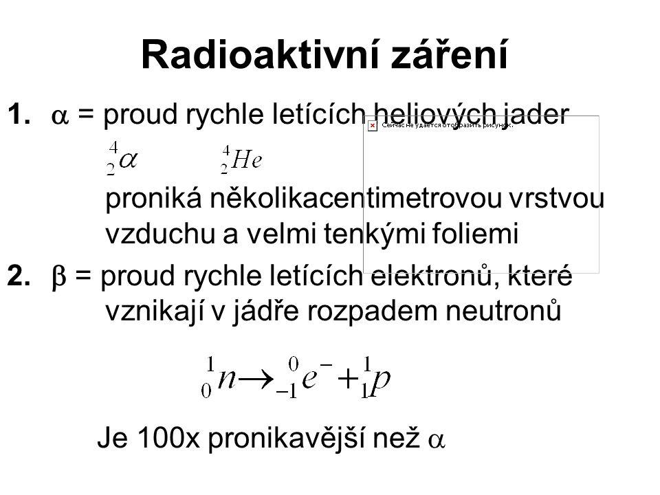 Radioaktivní záření  = proud rychle letících heliových jader