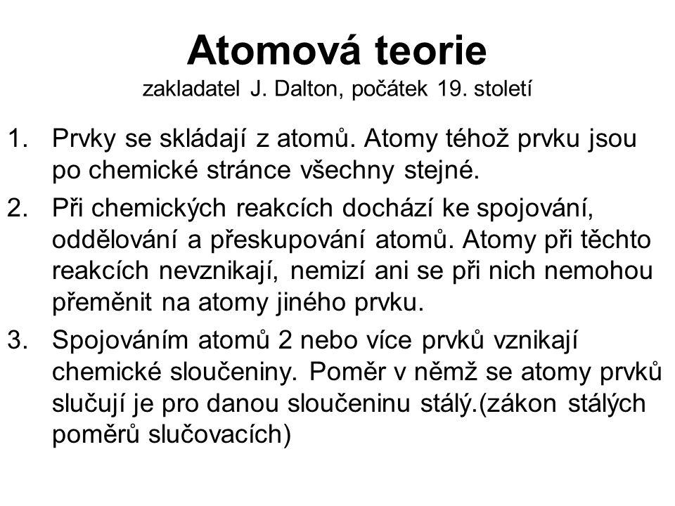 Atomová teorie zakladatel J. Dalton, počátek 19. století