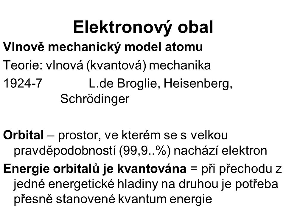 Elektronový obal Vlnově mechanický model atomu