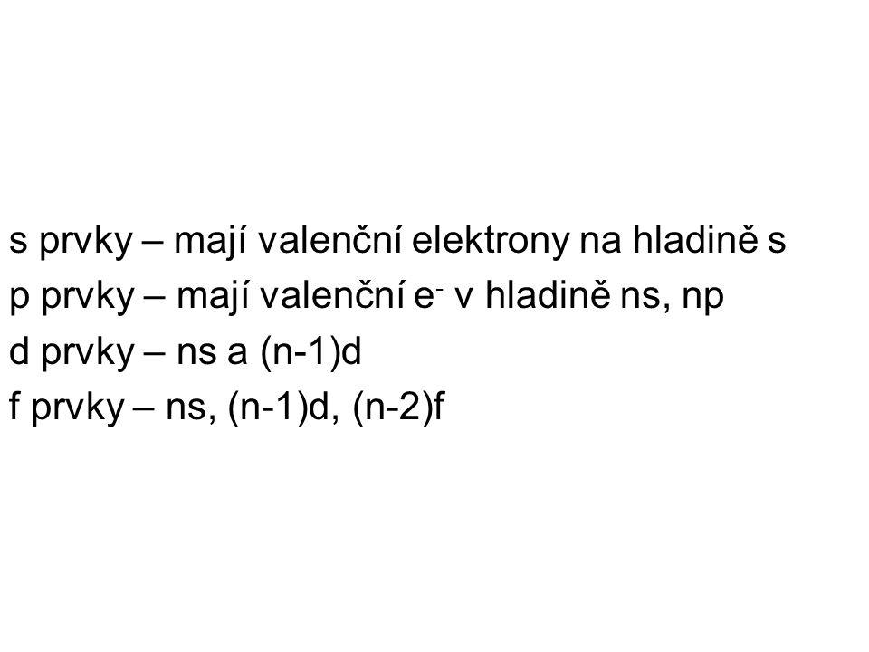 s prvky – mají valenční elektrony na hladině s