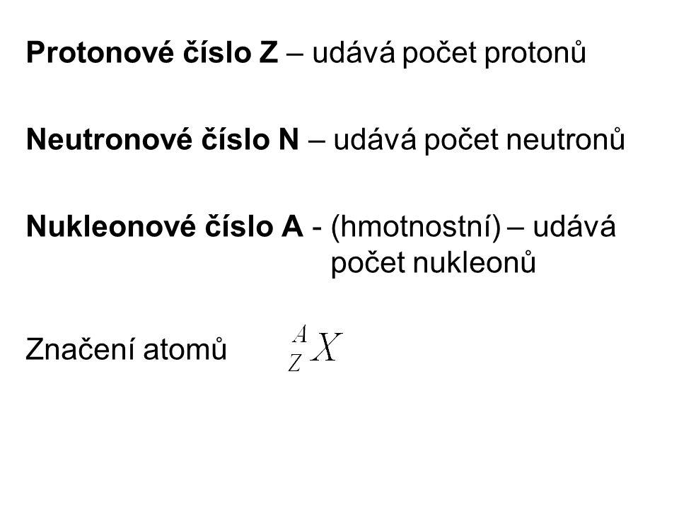Protonové číslo Z – udává počet protonů