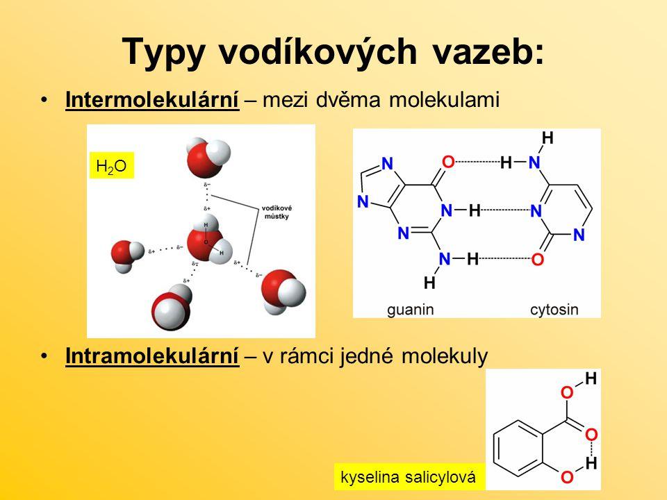Typy vodíkových vazeb:
