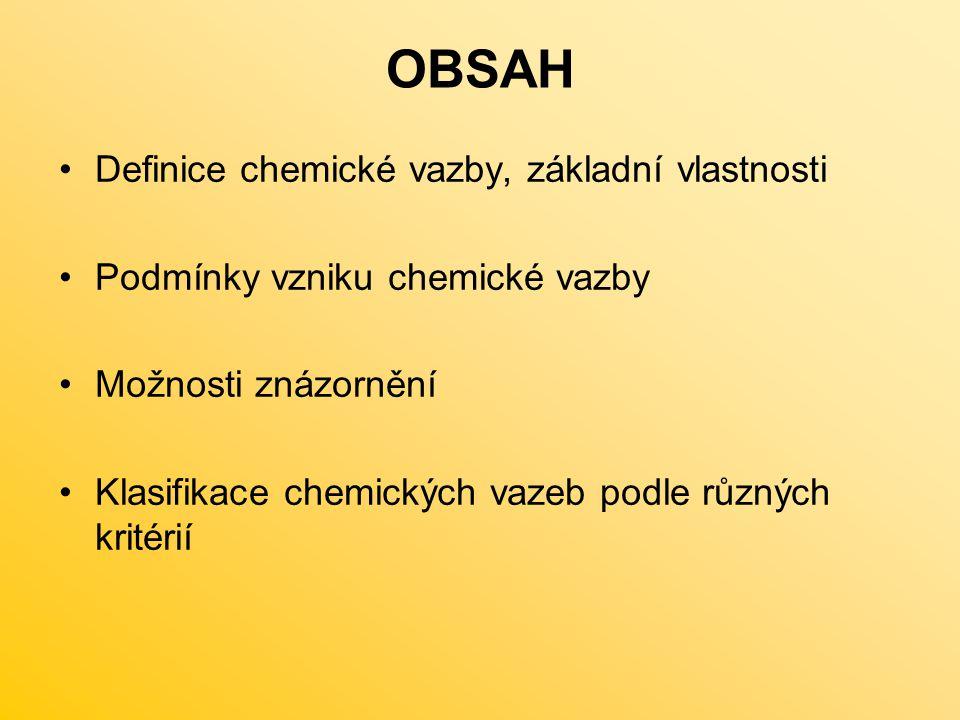 OBSAH Definice chemické vazby, základní vlastnosti