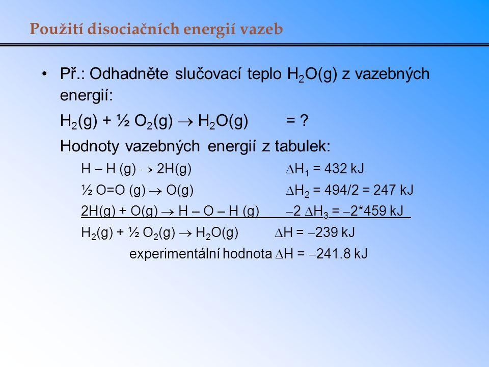 Použití disociačních energií vazeb
