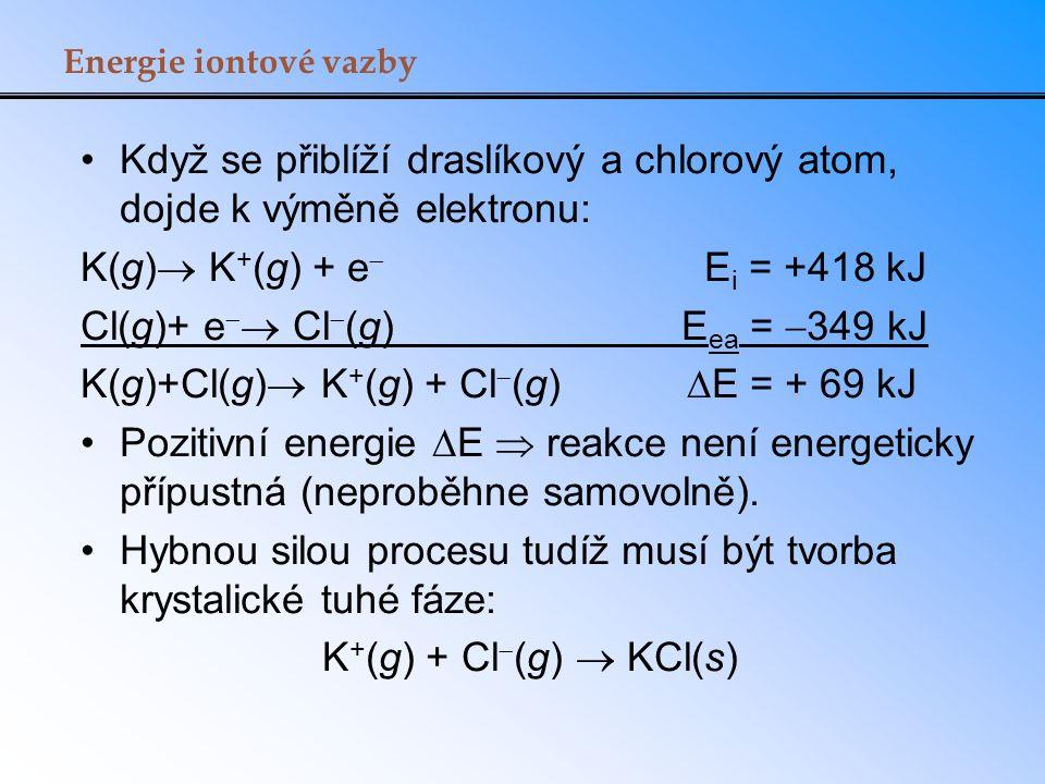 Když se přiblíží draslíkový a chlorový atom, dojde k výměně elektronu: