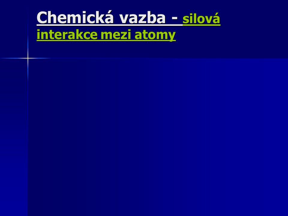 Chemická vazba - silová interakce mezi atomy