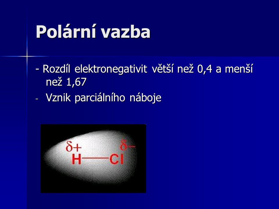Polární vazba - Rozdíl elektronegativit větší než 0,4 a menší než 1,67