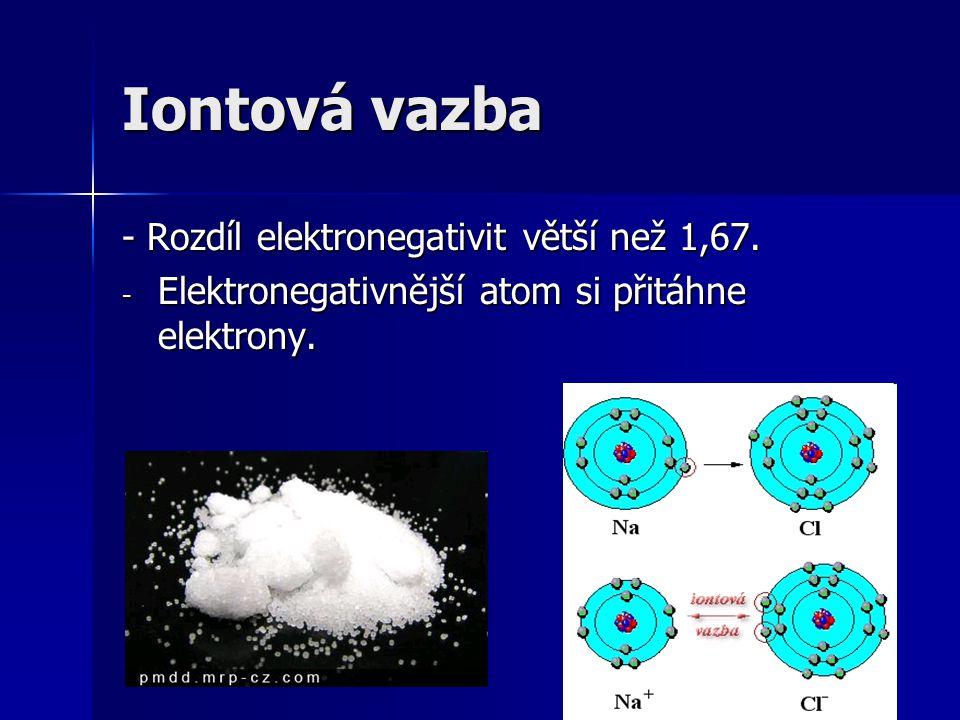 Iontová vazba - Rozdíl elektronegativit větší než 1,67.