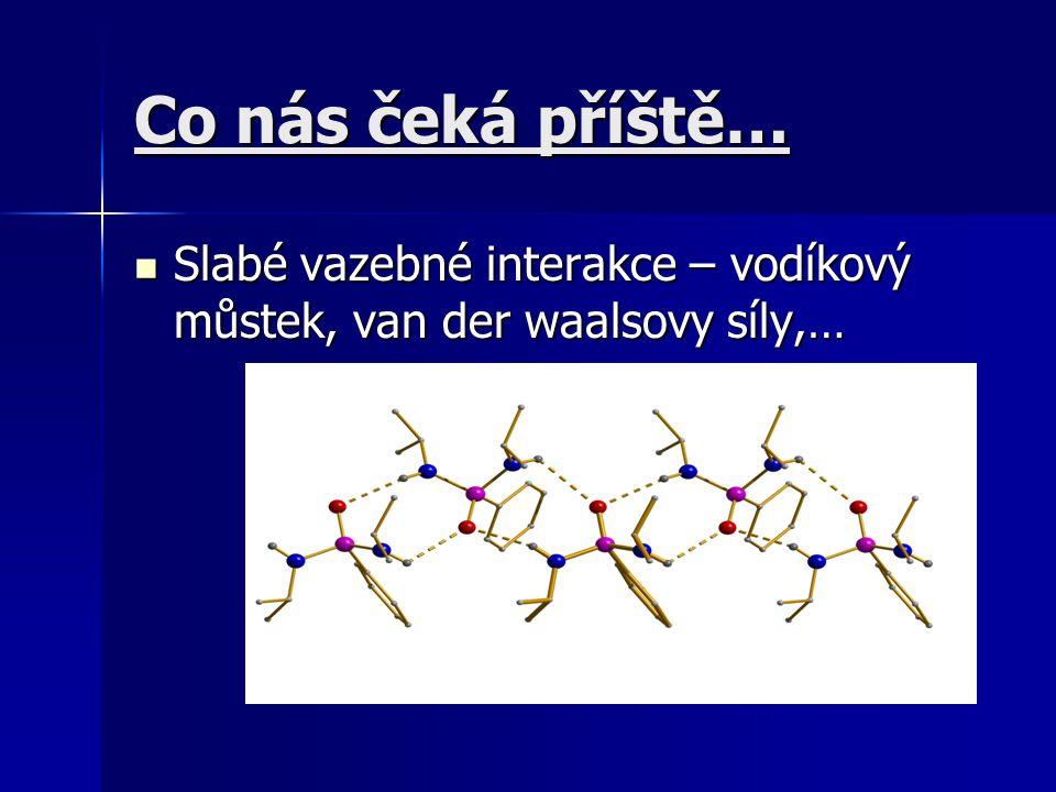Co nás čeká příště… Slabé vazebné interakce – vodíkový můstek, van der waalsovy síly,…
