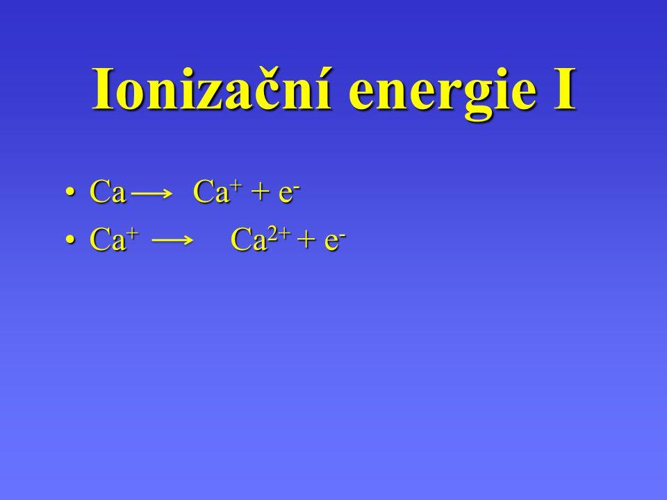 Ionizační energie I Ca Ca+ + e- Ca+ Ca2+ + e-